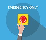hand push emergency button with red color and flat style vector graphic
