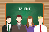talent text concept with green board as background and people aligning on front of it vector graphic