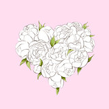 White peonies heart