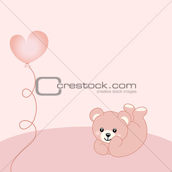 Baby girl teddy bear background