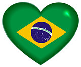 Heart shape Brazilian flag