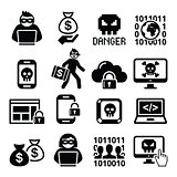 Hacker, cyber attack, cyber crime icons set