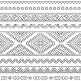 Tribal seamless Aztec stroke black pattern on white