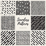 Vector Seamless Black and White Hand Drawn Lines Patterns