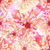 Seamless floral background Dahlia