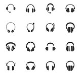 Headphones icons set
