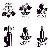Set of elegant wine logo templates