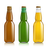 Different bottles on a white background.