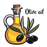 olive oil bottle with black olives