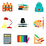 Set of sketch style vector school icons and symbols
