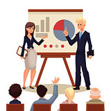 Businessman and businesswoman giving presentation with a board