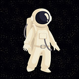 Cartoon astronaut in open cosmos vector illustration