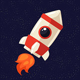 Cartoon rocket in open cosmos vector illustration
