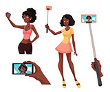 Set of beautiful black girls taking selfie with a smartphone