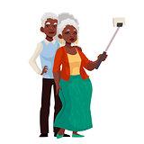 Elder grey-haired african american couple taking selfie