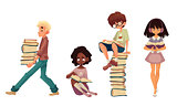 Set of sitting and walking children reading books