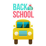 Flat vector yellow school bus icon