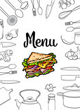 Sandwich, kitchenware and cutlery menu design vector illustration