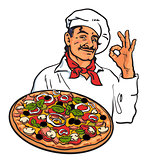Sketch of smiling Italian chef holding pizza in his hand