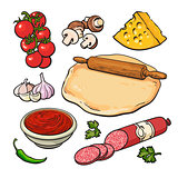 Set of sketch style pizza ingredients