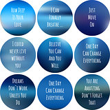 round motivational posters blue. Inspirational phrase for textile design. Inspirational blurred background with handwritten lettering