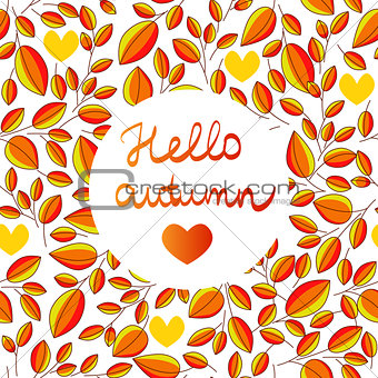 autumn seamless pattern with hand written lettering HELLO AUTUMN inside leaves background