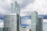 Modern skyscrapers in business district in Warsaw
