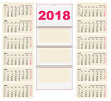 Template grid Wall Calendar 2018. First Day Monday