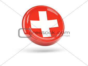 Flag of switzerland. Round icon