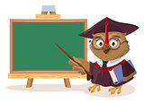 Owl teacher with book and pointer stands near blackboard