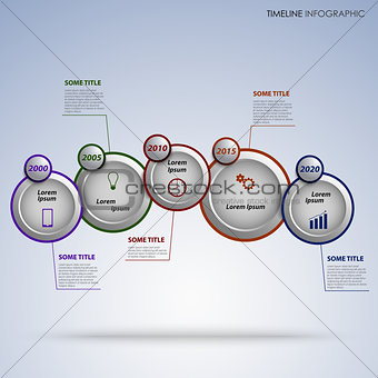 Time line info graphic with round design pointers template