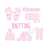 Knitting Related Object Collection With Text
