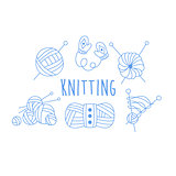 Knitting Related Icon Set With Text
