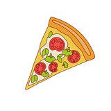 Pizza Slice With Tomato And Broccoli