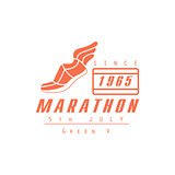 Marathon Running Orange Label Design