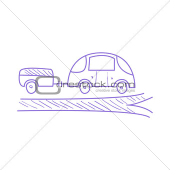 Car With Trailer On The Road