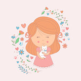 Girl Holding A Small White Dog Surrounded By Hearts And Flowers