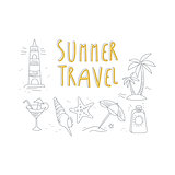 Summer Travel Related Object Collection With Text