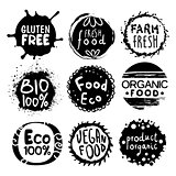 Organic Bio Food Black And White Label Set