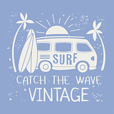 Surfing Illustration With Van And Text