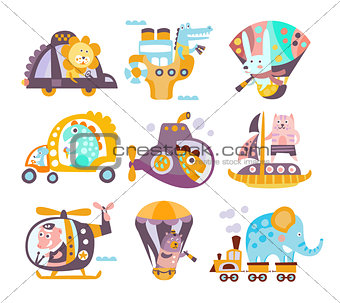 Animals And Transportation Fantasy Illustration Set