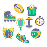 Sports And Fitness Equipment Objects Set