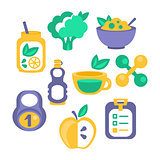 Healthy Lifestyle Objects Set