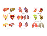 Healthy vs Sick Human Organs Infographic Illustration