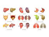 Healthy vs Sick Human Organs Infographic Illustration