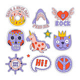 Skull, Doughnut, Cat And Others Bright Childish Stickers