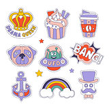 Cupcake, Dog, Rainbow And Others Bright Hipster Stickers
