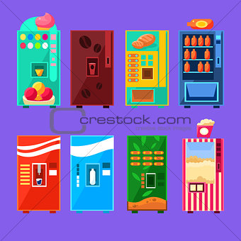 Food And Drink Vending Machines Design Set