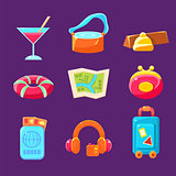 Travel Related Objects Colorful Simplified Icons