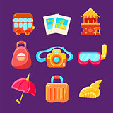 Travelling Related Objects Colorful Simplified Icons